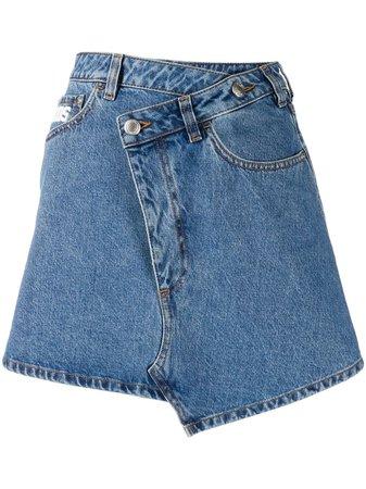 Gcds Asymmetric Logo Denim Skirt - Farfetch