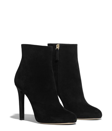 Ankle Boots, suede calfskin, black - CHANEL