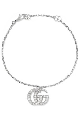 Gucci | 18-karat white gold diamond bracelet | NET-A-PORTER.COM