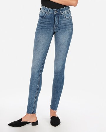 High Waisted Denim Perfect Lift Raw Hem Ankle Skinny Jeans