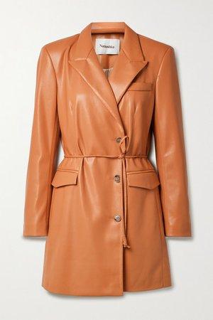 Remi Belted Vegan Leather Mini Dress - Tan