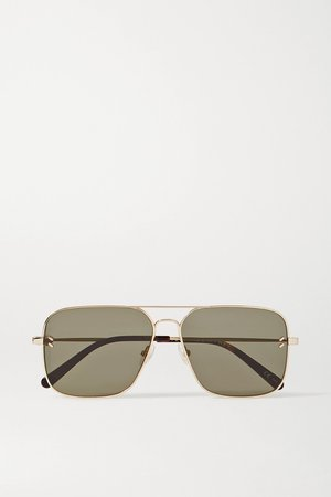 Gold Aviator-style gold-tone sunglasses | Stella McCartney | NET-A-PORTER