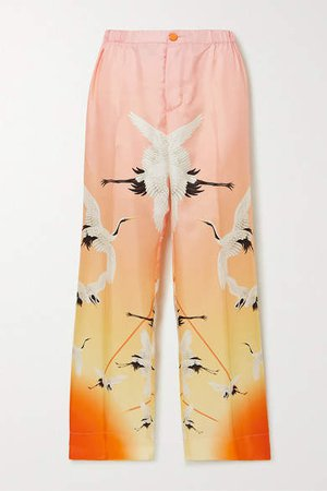 Etere Printed Degrade Silk Straight-leg Pants - Pastel pink