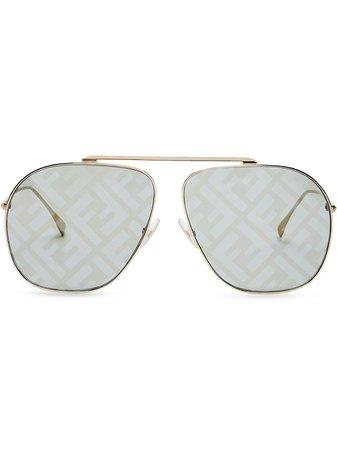 Fendi FF Logo Aviator Sunglasses - Farfetch