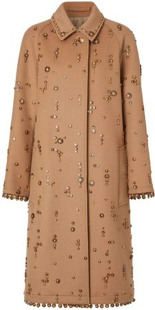 Embellished Wool Cashmere Car Coat