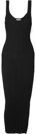 Trivento Ribbed Stretch-jersey Maxi Dress - Black