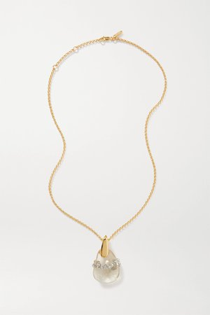 Gold Gold-tone, quartz and crystal necklace | Chloé | NET-A-PORTER