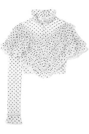Cropped Ruffled Polka-dot Flocked Tulle Blouse - White