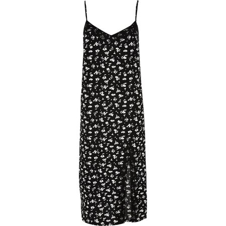 Black floral midi cami dress - Slip & Cami Dresses - Dresses - women