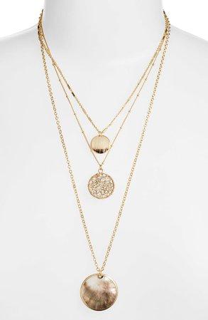Halogen® Layered Medallion Pendant Necklace | Nordstrom