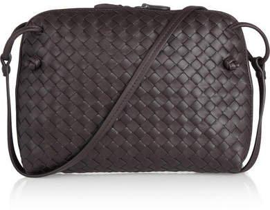 Messenger Small Intrecciato Leather Shoulder Bag - Dark brown