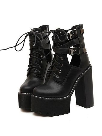 Black Lace Up Buckle Strap Heeled Platform Ankle Boots