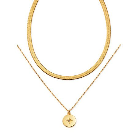 "Scoop - Scoop Brass Yellow Gold-Plated Layered Starburst Necklace, 16.5"" + 3"" Extender - Walmart.com - Walmart.com"
