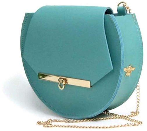 Angela Valentine Handbags - Loel Mini Military Bee Chain Bag Clutch In Pool Blue