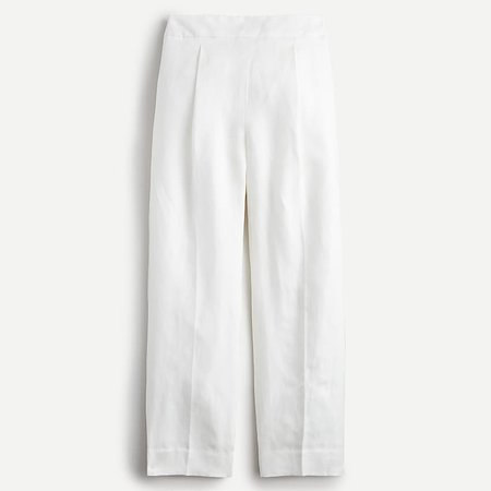 J.Crew: High-rise Pleated Pant In Linen Blend For Women white
