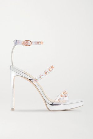Rosalind Crystal-embellished Pvc And Metallic Leather Platform Sandals - Silver