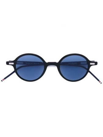 Thom Browne Eyewear Round Black Sunglasses With Red, White And Blue Frame TBS407 blue | Farfetch