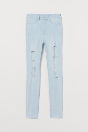 Super Skinny High Jeans - Light denim blue - Ladies   H&M US