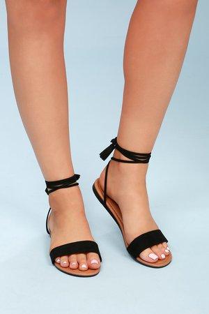 Leyla Black Suede Flat Lace-Up Sandals