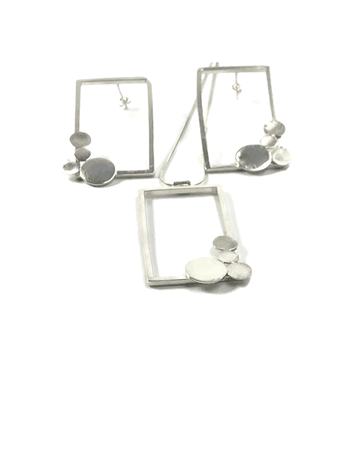 Sterling silver large rectangle earrings and necklace