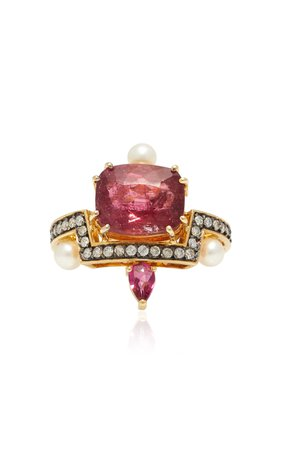 Dorion Soares 18K Gold, Tourmaline and Diamond Ring Size: 6.75