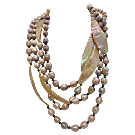 2 large Pink Pearl and Nacre Necklaces with matching earrings by Sylvia Gottwald