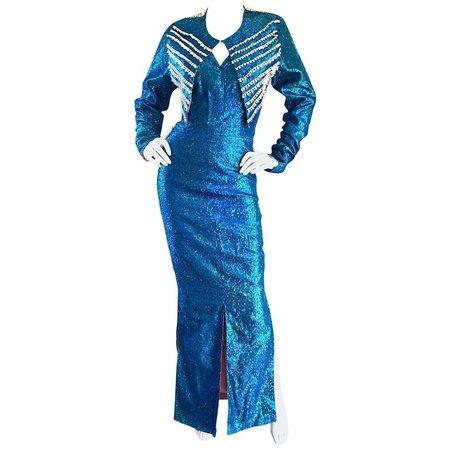 1950s Cerulean Blue Silk Lurex Showgirl Mermaid Gown + Bolero Beaded Jacket Set For Sale at 1stdibs