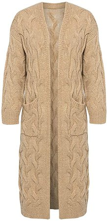Simplee Women's Casual Open Front Long Sleeve Knit Cardigan Sweater Coat with Pockets at Amazon Women's Clothing store