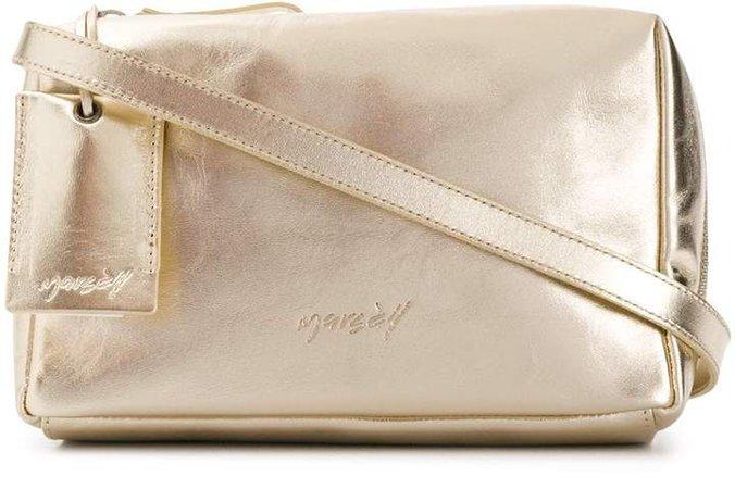 soft box metallic cross-body bag