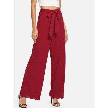 Wide Leg Pants | Shop Women's Burgundy Scallop Hem Tie Waist Wide Leg Pants at Fashiontage | dbd3064d-0-size-xs-color-burgundy