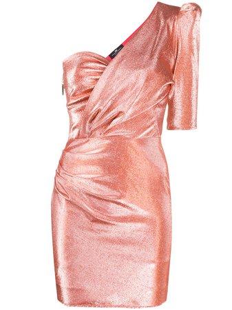 Elisabetta Franchi Metallic Threaded One-Shoulder Dress AB00402E2 Orange | Farfetch