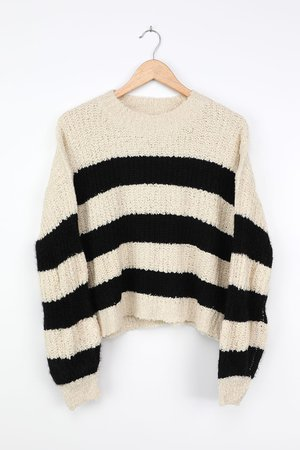 LUSH Striped Sweater - Fuzzy Beige Striped Sweater - Knit Sweater