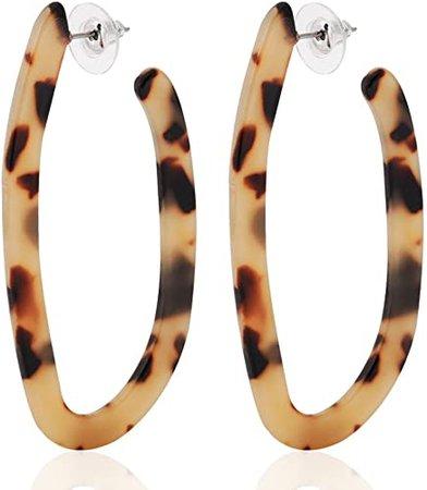 Amazon.com: ALEXY Women's Mottled Hoop Earrings Bohemia Acrylic Resin Hoops Stud Earrings (Leopard color): Jewelry