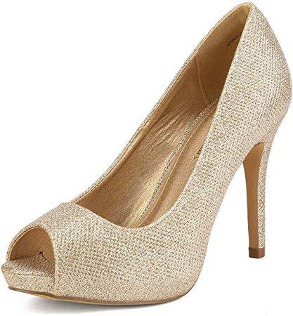 Amazon.com | DREAM PAIRS Women's Gold Glitter High Heel Peep Toe Platform Dress Pumps Shoes Size 8 M US Swan-26 | Pumps