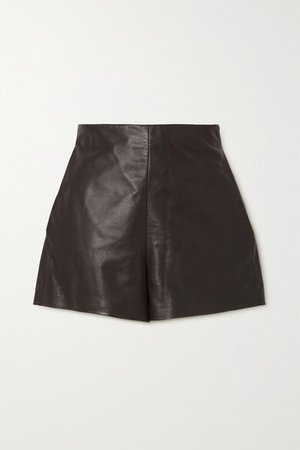 Leather Shorts - Brown