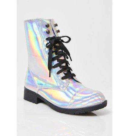 Hologram Combat Boots | Dolls Kill