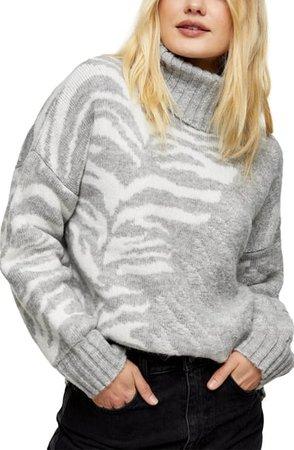 Topshop Tiger Stripe Turtleneck Sweater | Nordstrom
