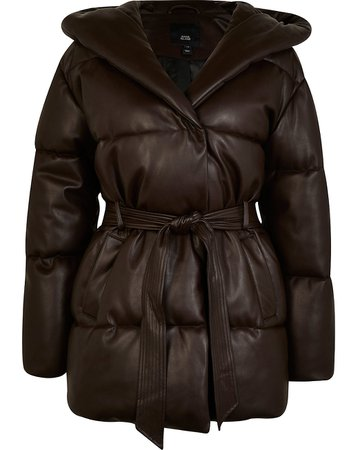 Brown faux leather quilted belted puffer coat   River Island