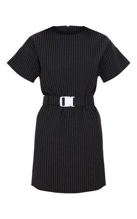 Black Pin Stripe Belt mini Dress | Dresses | PrettyLittleThing