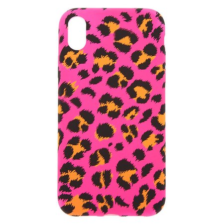 Neon Pink Leopard Print Phone Case - Fits iPhone XR | Claire's US