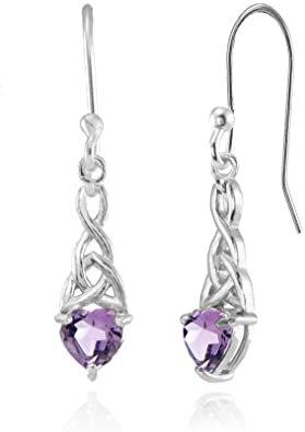 Sterling Silver Amethyst 6x6mm Dainty Heart Celtic Knot Dangle Earrings
