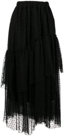 asymmetric polka dot skirt