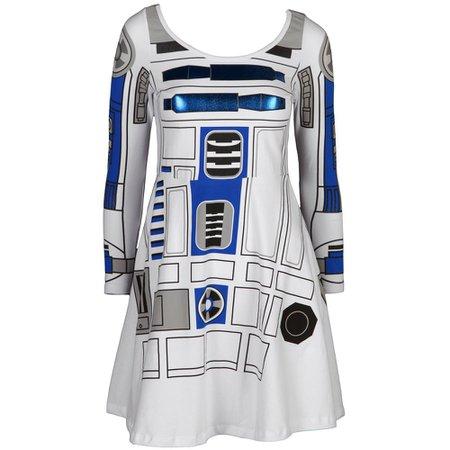 Amazon.com: Star Wars Women's I am R2D2 Skater Dress Costume X-Large Blue,White: Clothing