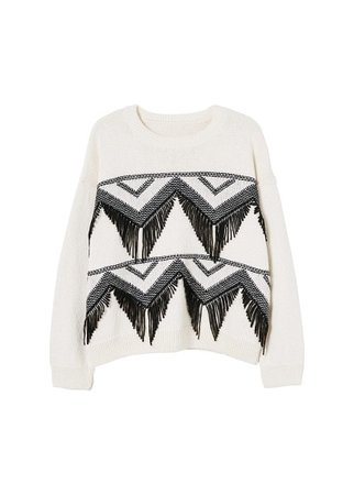 MANGO Recycled cotton fringed sweater