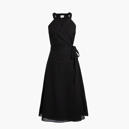 J.Crew: Linen Wrap Dress black