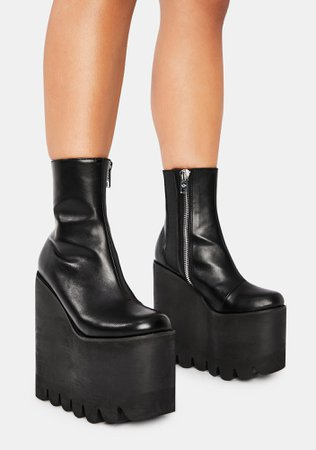 *clipped by @luci-her* Current Mood Round Tooth Zip Platform Boots - Black   Dolls Kill