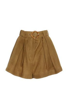 Zimmermann Belted Printed Linen Shorts Size: 1