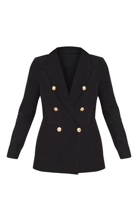 Black Double Breasted Military Style Blazer | PrettyLittleThing USA