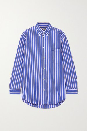 Oversized Striped Cotton-poplin Shirt - Blue