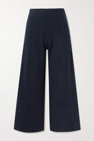 Cropped Ribbed Cashmere Wide-leg Pants - Navy